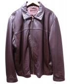 COACH(コーチ)の古着「レザーシングルライダースジャケット」|ブラウン