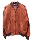 HUNTING WORLD(ハンティングワールド)の古着「エンボススウェードロゴジャケット」 ブラウン