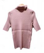 VALENTINO(バレンチノ)の古着「リブタートルネックニット」|ピンク