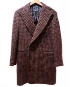 TAGLIATORE(タリアトーレ)の古着「アルパカ混ブークレハウンドトゥースポロコート」 ブラウン