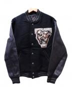 VAN JAC(ヴァンジャック)の古着「袖レザーアーチロゴスタジャン」|ブラック