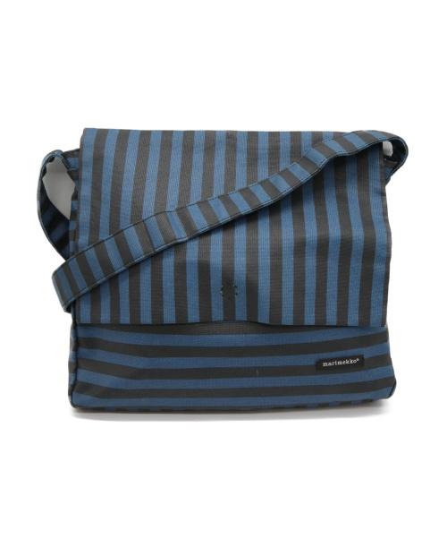 marimekko(マリメッコ)marimekko (マリメッコ) ボーダーメッセンジャーバッグ ブルー×ブラックの古着・服飾アイテム