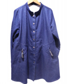 CARA O CRUZ(キャラオクルス)の古着「ロゴバンドカラーシャツジャケット」|インディゴ