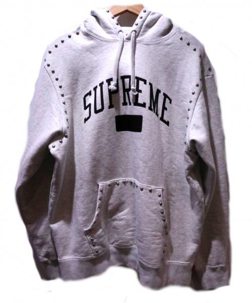 Supreme(シュプリーム)Supreme (シュプリーム) Studded Hooded Sweatshirt グレー サイズ:Mの古着・服飾アイテム