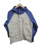 HOUSTON(ヒューストン)の古着「フーデッドジャケット」|ブルー×ベージュ