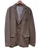 ETRO(エトロ)の古着「ペイズリーシルクライニングラムレザージャケット」|ベージュ