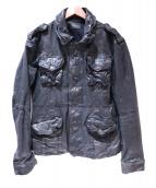 Cathy Jane(キャシー ジェーン)の古着「アンティーク加工M-65レザージャケット」 ブラック