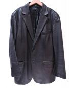BARNEYS NEWYORK(バーニーズニューヨーク)の古着「レザーテーラードジャケット」|ブラック