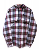 Supreme(シュプリーム)の古着「QuilTED Hooded plaid shirt」|ブラウン