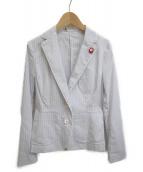 DOUBLE STANDARD(ダブルスタンダード)の古着「テーラードジャケット」|ブルー×ホワイト