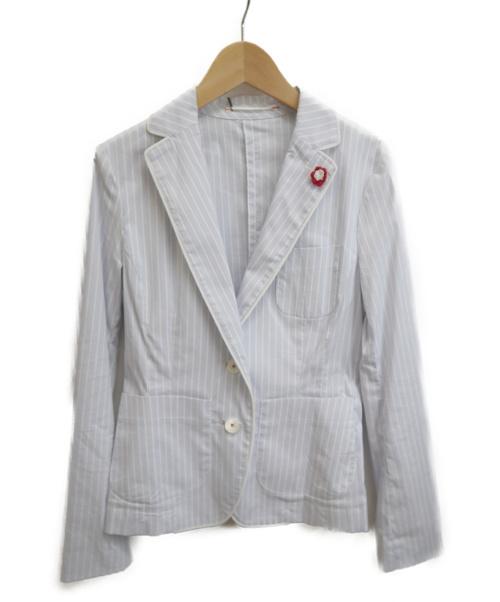 DOUBLE STANDARD(ダブルスタンダード)DOUBLE STANDARD (ダブルスタンダード) テーラードジャケット ブルー×ホワイト サイズ:38の古着・服飾アイテム