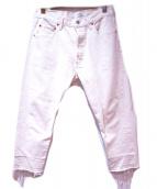 OLD PARK(オールドパーク)の古着「リメイクカットオフデニムパンツ」|ホワイト