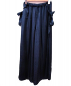Mhairi(マイリ)の古着「サテン レイヤード ギャザリング パンツ」|ネイビー