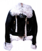 BURBERRY PRORSUM(バーバリープローサム)の古着「ファー切替レザーライダースジャケット」 ブラック