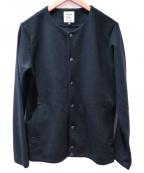 JACKMAN(ジャックマン)の古着「Jersey Collarless Jacket」 ブラック