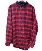 ALEXANDER WANG(アレキサンダーワン)の古着「スリーブロゴチェックネルシャツ」|レッド