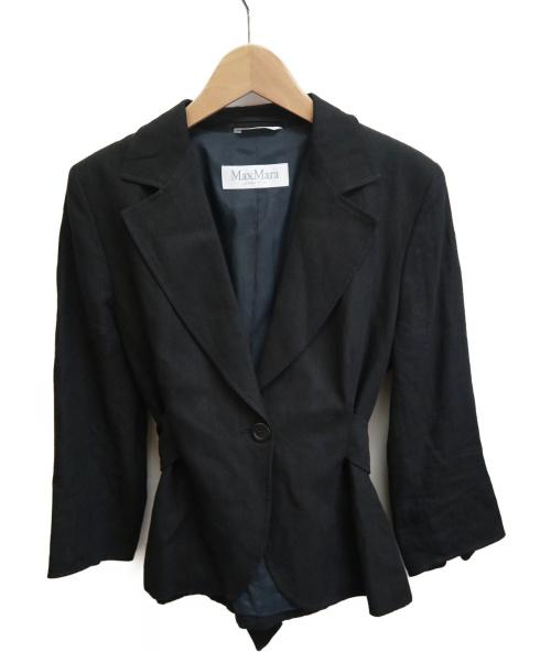 MaxMara(マックスマラ)MaxMara (マックスマーラ) リネンジャケット ブラック サイズ:40 オーティーエス期の古着・服飾アイテム