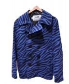 SCHOTT BROS.(ショットブロス)の古着「ゼブラ柄Pコート」|ブルー