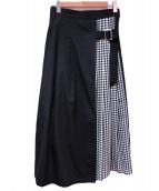 RAY BEAMS(レイビームス)の古着「チェック切替プリーツスカート」|ブラック
