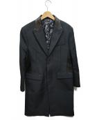 ROBERTO CAVALLI(ロベルトカヴァリ)の古着「総柄ライニングレザー切替ステンカラーコート」|ブラック