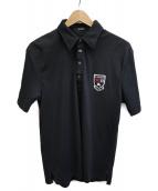 BURBERRY BLACK LABEL(バーバリーブラックレーベル)の古着「ロゴエンブレムワッペンポロシャツ」|ブラック