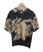 Sun Surf(サンサーフ)の古着「東洋笹虎アロハシャツ」 ベージュ×ブラック