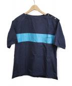 KAPTAIN SUNSHINE(キャプテン サンシャイン)の古着「ラインプリントオーバーサイズT」|ネイビー
