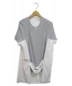 sacai(サカイ)の古着「ニット×ブロードドッキングワンピース」|ホワイト×グレー
