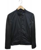 LANVIN(ランバン)の古着「レザー切替ナイロンジャケット」|ブラック