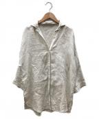 Leilian(レリアン)の古着「サイドスリットリネンシャツ」 ベージュ