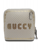 GUCCI(グッチ)の古着「GUCCYプリントショルダーポーチ」|ホワイト×ゴールド