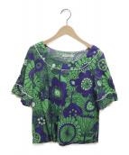 marimekko(マリメッコ)の古着「総柄カットソー」|ネイビー×グリーン