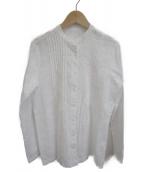 CARA O CRUZ(キャラオクルス)の古着「刺繍バンドカラーシャツ」|ホワイト