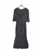 Demi-Luxe BEAMS(デミルクスビームス)の古着「オープンカラードットワンピース」|ブラック