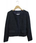 UNTITLED(アンタイトル)の古着「ノーカラーツイードジャケット」|ネイビー