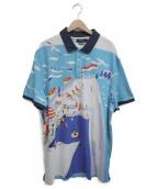 POLO RALPH LAUREN(ポロラルフローレン)の古着「シーサイドプリントポロシャツ」 スカイブルー