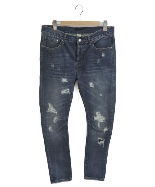 RRL(ダブルアールエル)RRL (ダブルアールエル) ダメージ加工デニムパンツ ブルー サイズ:w33の古着・服飾アイテム