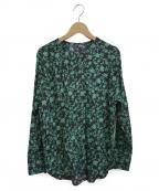Unaca(アナカ)の古着「フラワープリントブラウス」|ブラック×グリーン