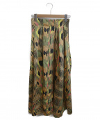 ROSE BUD(ローズバッド)の古着「オリジナルプリントマキシスカート」 ブラック×グリーン