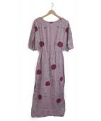 ()の古着「フラワー刺繍マキシワンピース」|ピンク