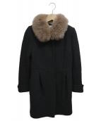 Apuweiser-riche(アプワイザーリッシェ)の古着「ブルーフォックスファー付コート」 ブラック