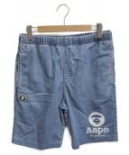 AAPE BY A BATHING APE(エーエイプ バイアベイシングエイプ)の古着「スウェットハーフパンツ」|ブルー