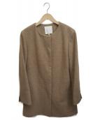 自由区(ジユウク)の古着「ノーカラーコート」|ブラウン