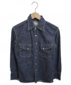 FLAT HEAD(フラット ヘッド)の古着「デニムウエスタンシャツ」 ブルー