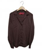 LA MARINE FRANCAISE(マリンフランセーズ)の古着「ドットプリント オープンカラーシャツ」|ブラウン×ベージュ