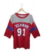 X-LARGE(エクストララージ)の古着「7分袖カットソー」|グレー×レッド