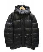 Haruf(ハルフ)の古着「レザーダウンフーデットジャケット」|ブラック