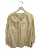 CARA O CRUZ(キャラオクルス)の古着「ストライプボウタイブラウス」|イエロー