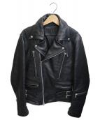 JACKROSE(ジャックローズ)の古着「ダブルレザーライダースジャケット」|ブラック
