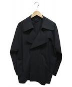GIORGIO ARMANI(ジョルジオアルマーニ)の古着「切りっぱなし加工ダブルコート」|ブラック